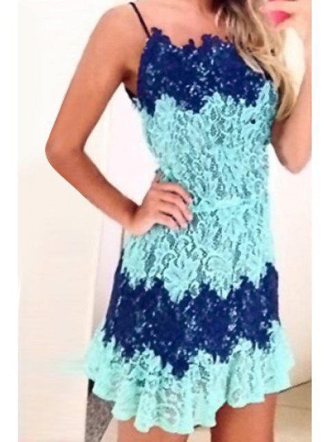 new Spaghetti Strap Color Block Lace Splicing Dress - LIGHT BLUE XL Mobile
