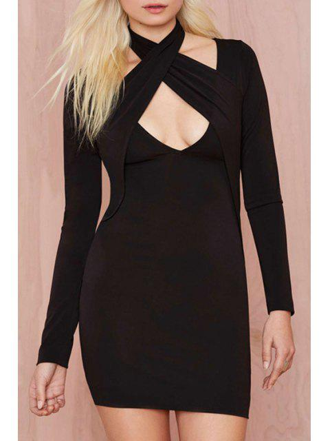 chic Black Halter Long Sleeve Bodycon Dress - BLACK 2XL Mobile