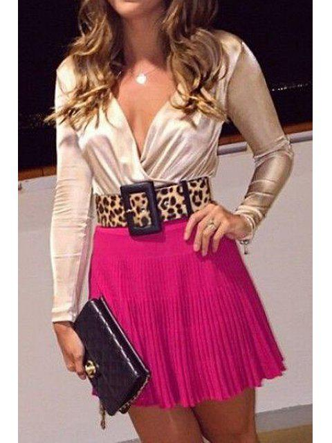 fashion Plunging Neck Long Sleeve T-Shirt + Skirt -   Mobile