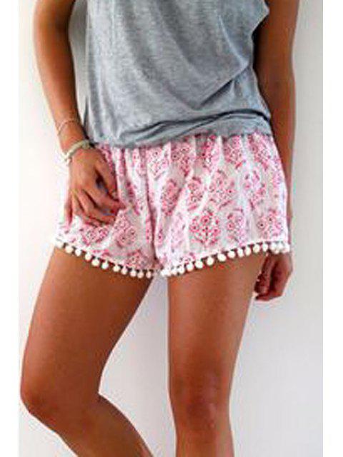 women's Floral Print Irregular Hem Laciness Pink Shorts - PINK S Mobile