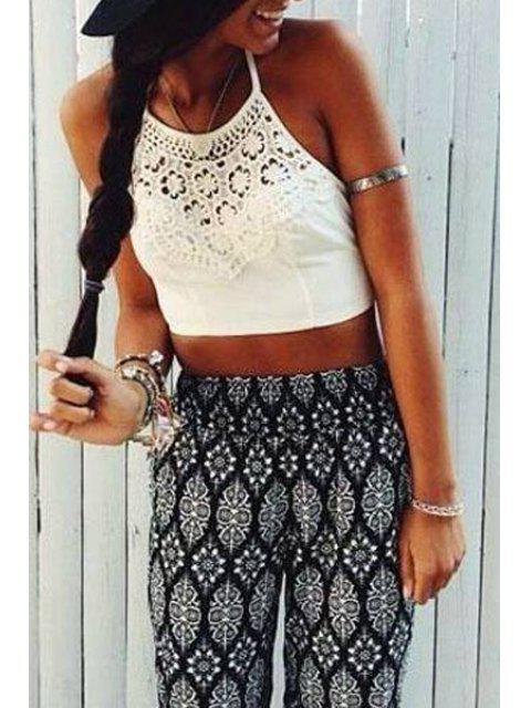 women's Crochet Flower Spliced Sleeveless Crop Top - WHITE M Mobile