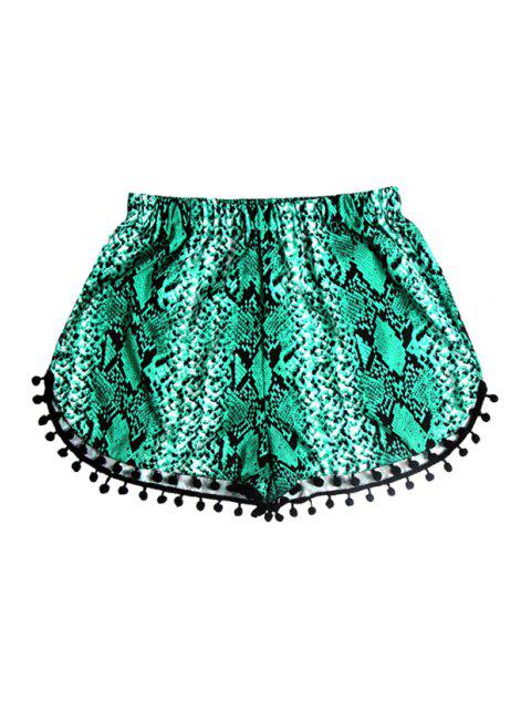 lady Elastic Waist Laciness Printed Shorts - GREEN S Mobile
