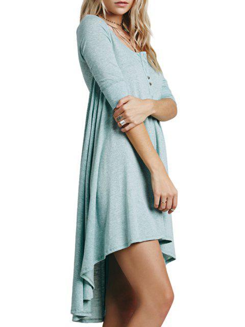 fashion Solid Color Loose-Fitting Half Sleeve Dress - GREEN S Mobile
