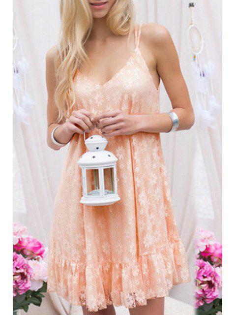 women Lace Pink Spaghetti Straps Dress - PINK S Mobile