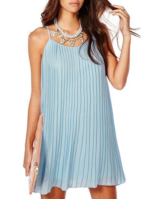 lady Pleated Spaghetti Straps Chiffon Dress - BLUE M Mobile