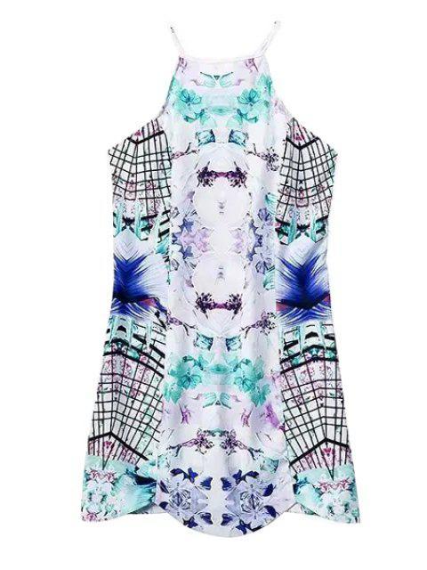 chic Print Spaghetti Straps Mini Dress - WHITE M Mobile