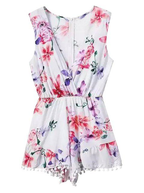 shops Floral Plunging Collar Sleeveless Playsuit - WHITE M Mobile