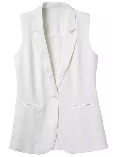 women Lapel Pocket Solid Color Sleeveless Waistcoat - WHITE L Mobile