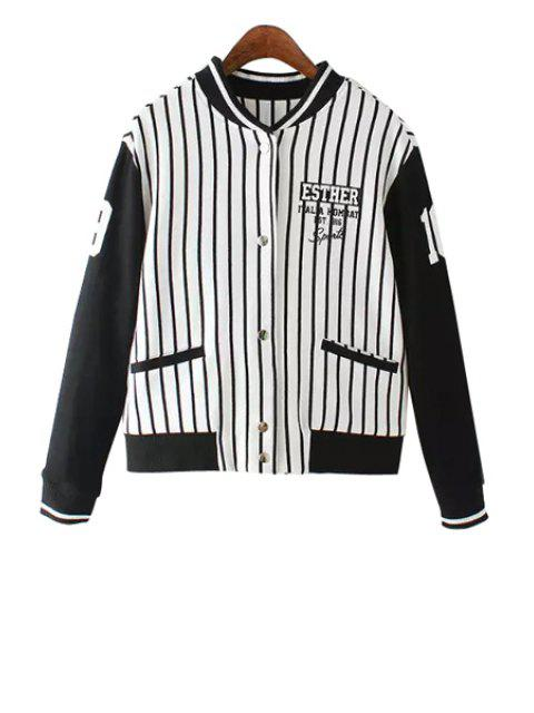 outfit Stripe Spliced Stand Neck Jacket - STRIPE S Mobile