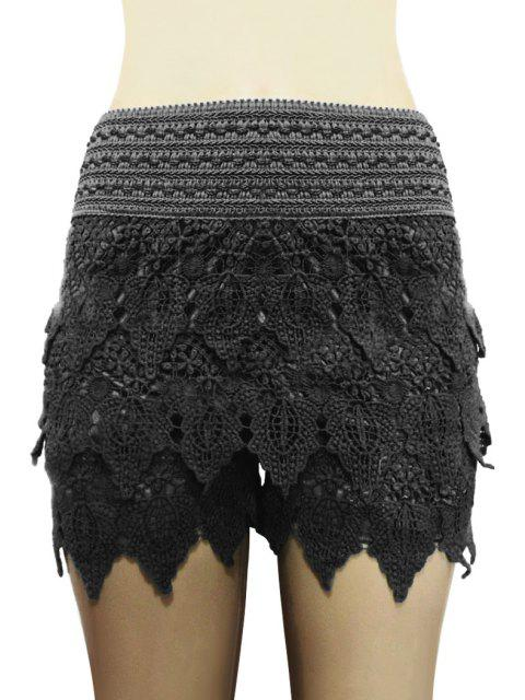 ladies Solid Color Lace Multi-Layered Shorts - BLACK L Mobile