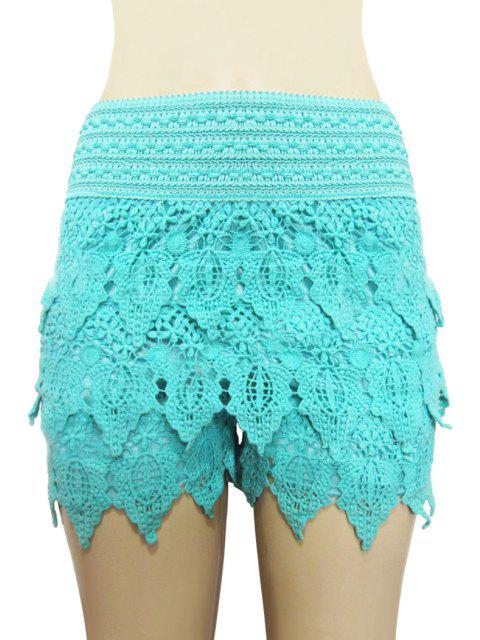 new Solid Color Lace Multi-Layered Shorts - AZURE XL Mobile
