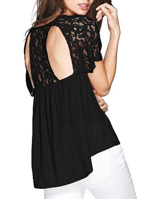 latest Lace Spliced Short Sleeve Backless Blouse - BLACK L Mobile