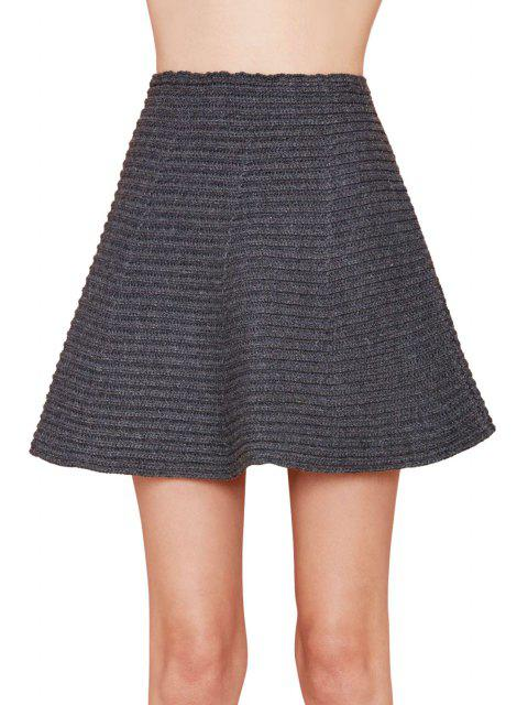unique Gray High Waisted A Line Knit Skirt - GRAY S Mobile