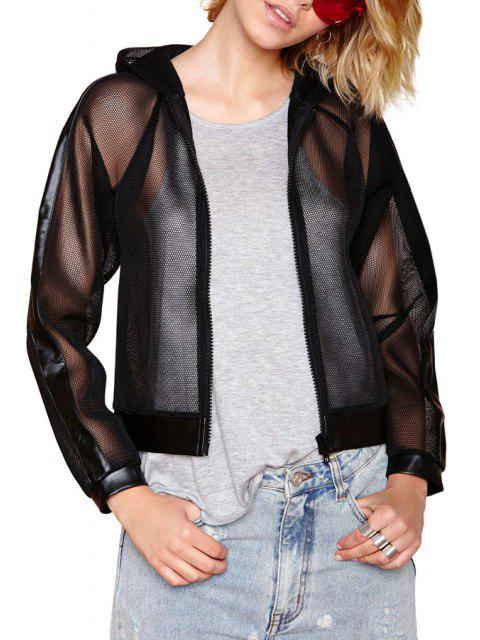 fashion PU Leather Mesh Spliced Hooded Jacket - BLACK S Mobile
