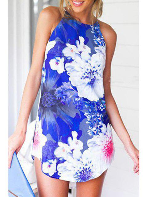 ladies Spaghetti Strap Floral Print Irregular Hem Dress - BLUE AND WHITE M Mobile