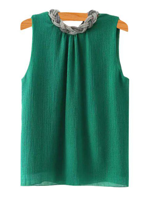 Braid Splicing sin mangas Tank Top - Verde S Mobile
