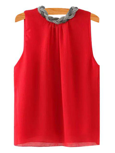 ladies Braid Splicing Sleeveless Tank Top - RED S Mobile