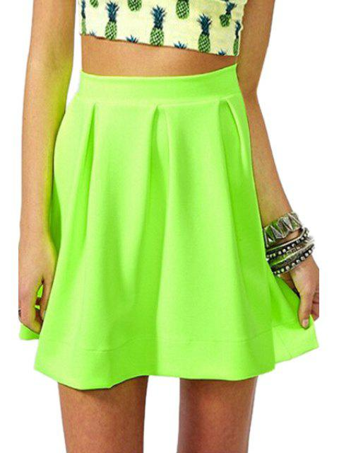fashion Zipper-Fly Ruffled A-Line Fluorescent Green Skirt - NEON GREEN XL Mobile
