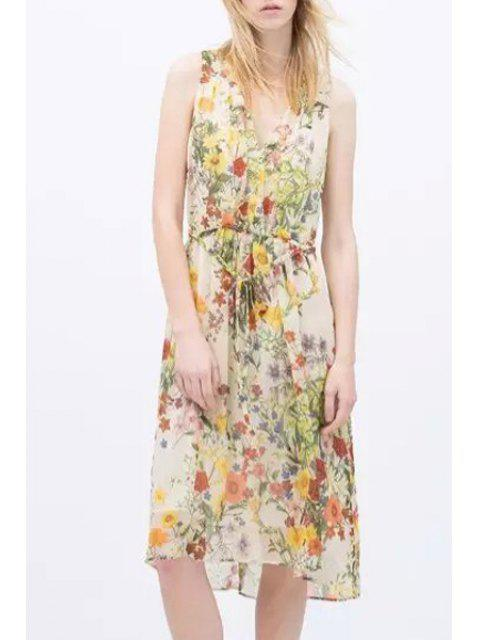 ladies V-Neck Floral Printed Tie-Up Sleeveless Dress - YELLOW M Mobile