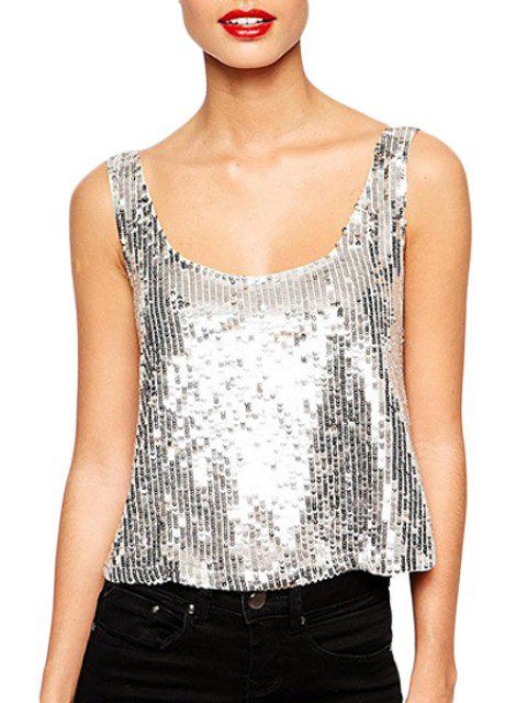 Silver Sequins Scoop Neck Tank Top - Argent M Mobile