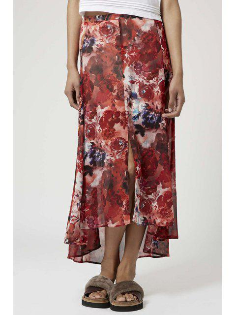 latest Red Floral Print Asymmetrical Skirt - RED XL Mobile