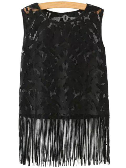 ladies See-Through Tassels Tank Top - BLACK M Mobile