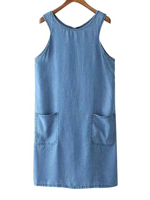 unique Round Neck Sleeveless Pocket Design Denim Dress - BLUE S Mobile