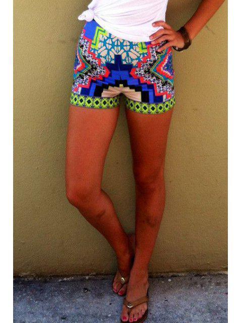 shops Color Block Geometric Print Shorts - COLORMIX M Mobile