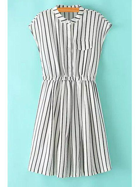 sale Striped Stand Neck Sleeveless Dress - STRIPE L Mobile
