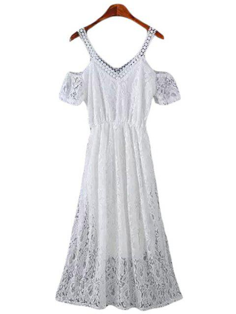 women's Lace Short Sleeve Off The Shoulder Dress - WHITE M Mobile