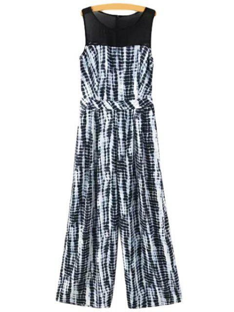 shops Chiffon Spliced Sleeveless Jumpsuit - WHITE AND BLACK M Mobile