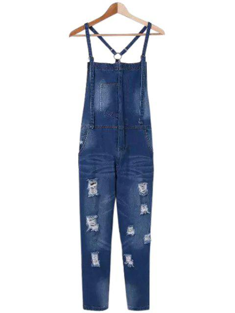 online Bleach Wash Destroy Pocket Denim Overall - DEEP BLUE M Mobile