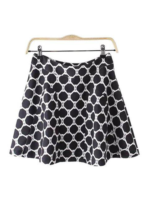 unique Geometric Print A Line Skirt - WHITE AND BLACK M Mobile