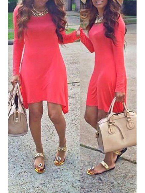 outfits Long Sleeve Solid Color Irregular Hem Mini Dress - DEEP PINK S Mobile