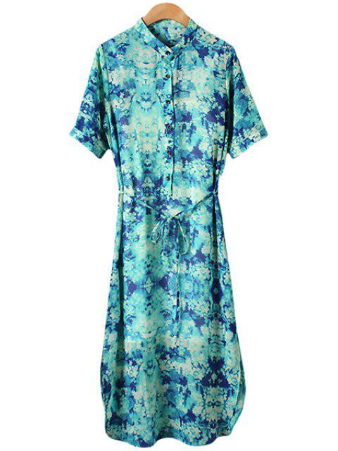 shop Print Dress with Spaghetti Strap Tank Top Twinset - GREEN L Mobile