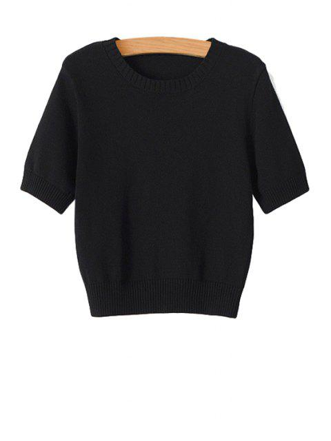 outfit Solid Color Short Sleeve Sweater - BLACK M Mobile