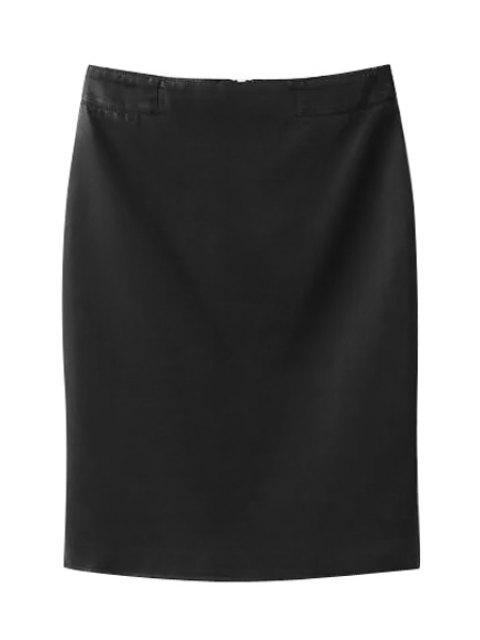 affordable High-Waisted Zipper-Fly PU Leather Black Skirt - BLACK L Mobile