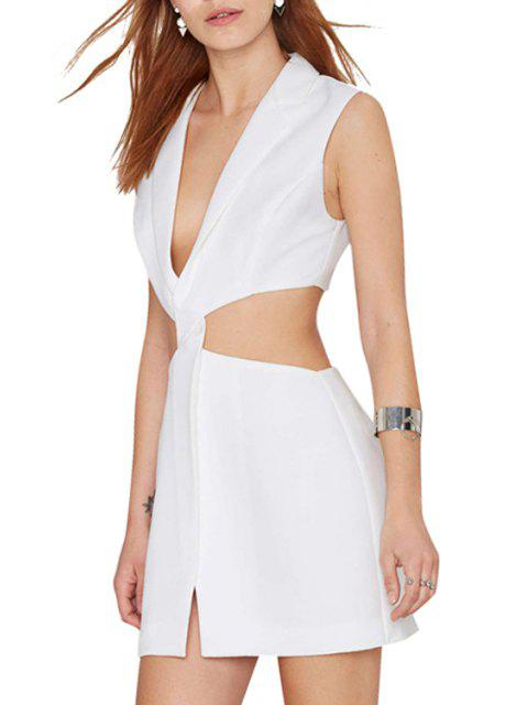 buy Deep V Neck Cross Waist Hollow Out Dress - WHITE S Mobile