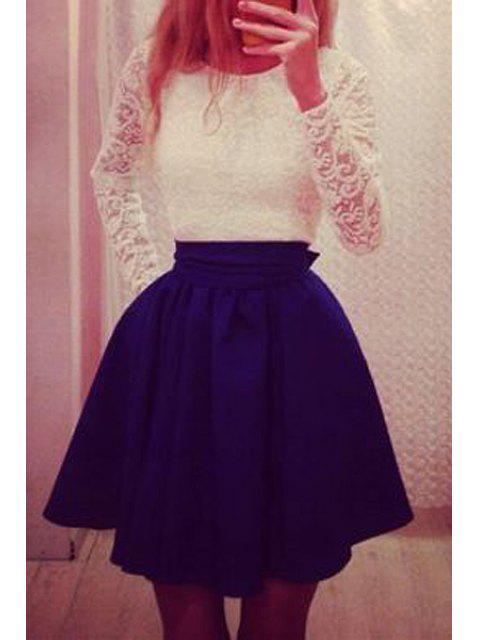 latest Lace Spliced Long Sleeve Flare Dress - BLUE M Mobile