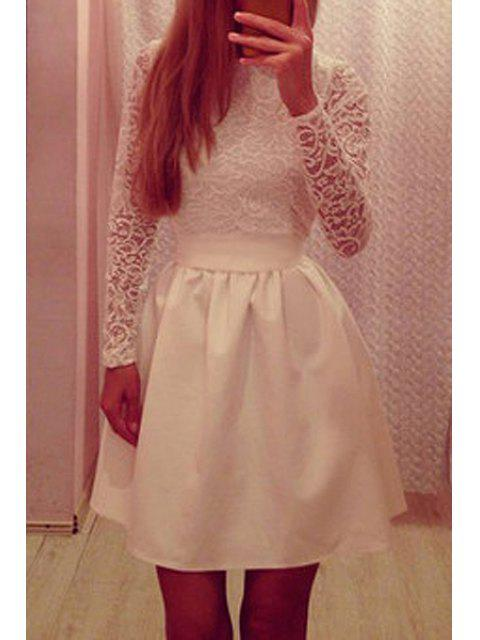 affordable Lace Spliced Long Sleeve Flare Dress - WHITE M Mobile