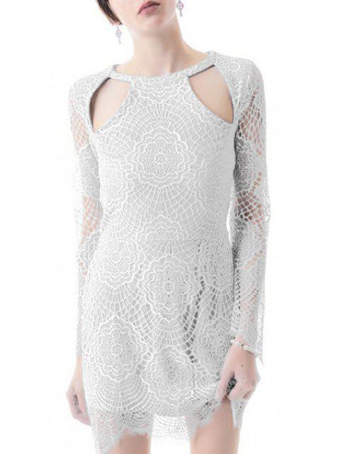 womens Lace Hollow Out Long Sleeves Dress - WHITE S Mobile