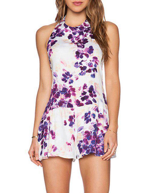 shop Floral Print Halter Backless Playsuit - WHITE S Mobile