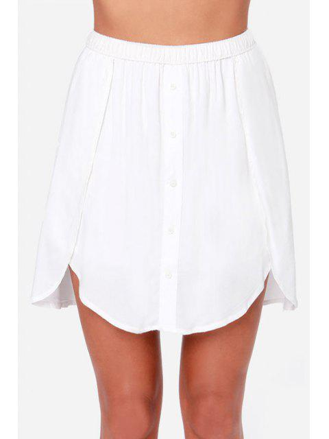 fashion Solid Color Asymmetrical Skirt - WHITE 2XL Mobile