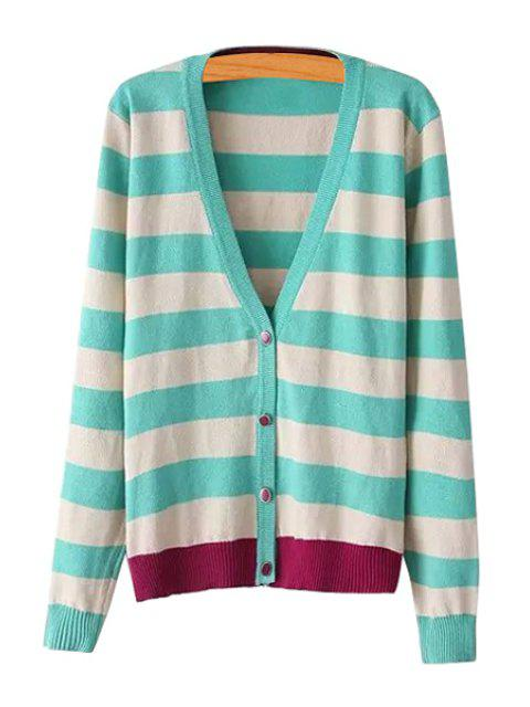 fashion Stripes Color Block Single-Breasted Cardigan - GREEN M Mobile