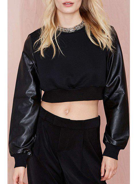 ladies Long Sleeve PU Leather Spliced Black Crop Top - BLACK S Mobile