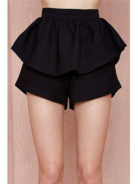 shop High-Waisted Ruffles Loose-Fitting Black Shorts - BLACK XL Mobile