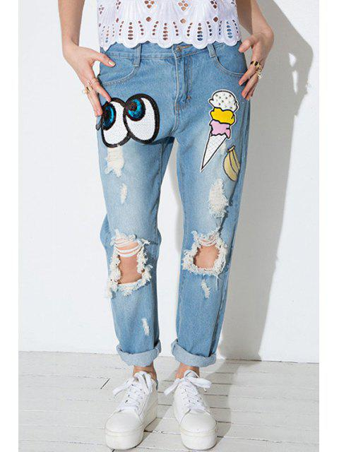 sale Sequins Eye Pattern Straight Leg Jeans - BLUE S Mobile