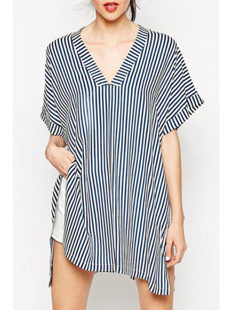 lady Stripes V Neck Loose-Fitting T-Shirt - STRIPE M Mobile