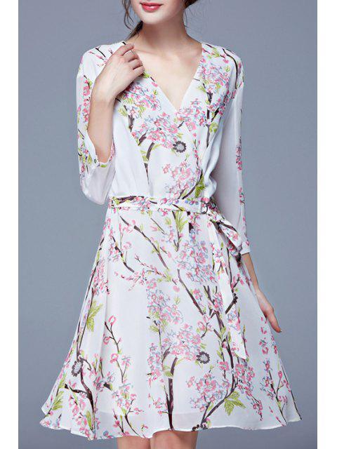 shops Tiny Floral Print Elastic Waist Long Sleeve Dress - WHITE L Mobile