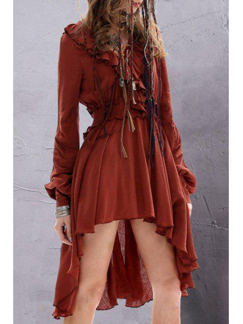 sale Solid Color Ruffled Long Sleeve Dress - DARK RED L Mobile